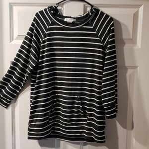 NWT striped hooded top
